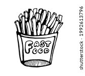 french fries  vector on... | Shutterstock .eps vector #1992613796