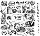fast food set  vector on... | Shutterstock .eps vector #1992617696