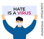 stop asian hate poster. racism... | Shutterstock .eps vector #1992619073