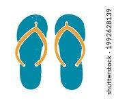 textured blue flip flops.... | Shutterstock .eps vector #1992628139