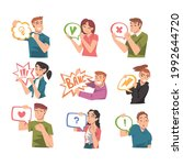 people holding speech chat... | Shutterstock .eps vector #1992644720