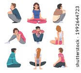set of young people sitting on... | Shutterstock .eps vector #1992644723