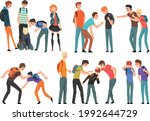 group of teenagers bullying sad ... | Shutterstock .eps vector #1992644729