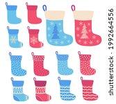 christmas stockings. stickers ... | Shutterstock .eps vector #1992664556