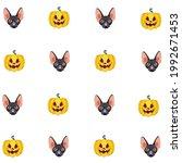 pattern of cartoon black sphynx ... | Shutterstock .eps vector #1992671453