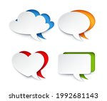 vector set of 4 speech bubbles... | Shutterstock .eps vector #1992681143