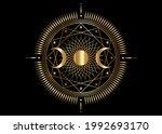 gold triple moon mystic icon... | Shutterstock .eps vector #1992693170