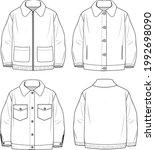 women's button up teddy coat.... | Shutterstock .eps vector #1992698090