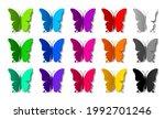 set of fifteen colored paper... | Shutterstock .eps vector #1992701246