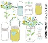 wedding flower mason jar | Shutterstock .eps vector #199272110