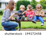 family of four  mother and her... | Shutterstock . vector #199272458