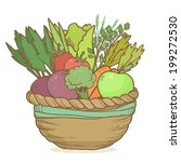 vector cute basket with hand... | Shutterstock .eps vector #199272530
