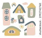 sticker pack houses  rainbow ... | Shutterstock .eps vector #1992742760