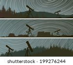 Set horizontal banners of stars trace circles on the sky with telescopes and forest.