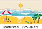 vector summer time in beach... | Shutterstock .eps vector #1992803579
