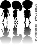 set of kids silhouette with... | Shutterstock .eps vector #1992818603