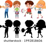 set of different kids playing... | Shutterstock .eps vector #1992818606