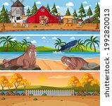 different nature landscape at... | Shutterstock .eps vector #1992820013