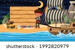 pirate kids at the beach night... | Shutterstock .eps vector #1992820979