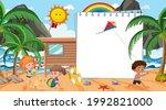 empty banner template with kids ... | Shutterstock .eps vector #1992821000
