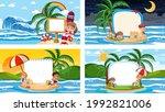 set of different tropical beach ... | Shutterstock .eps vector #1992821006