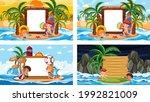 set of different tropical beach ... | Shutterstock .eps vector #1992821009