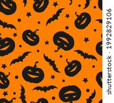 seamless pattern with pumpkins...   Shutterstock .eps vector #1992829106