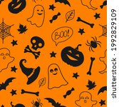 seamless pattern with halloween ...   Shutterstock .eps vector #1992829109