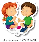 sticker template with kids... | Shutterstock .eps vector #1992850640