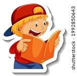 sticker template with a boy... | Shutterstock .eps vector #1992850643