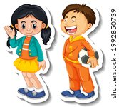 sticker template with couple of ... | Shutterstock .eps vector #1992850739