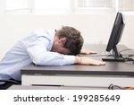 employee sleeping on keyboard | Shutterstock . vector #199285649