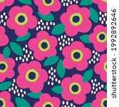 cute hand drawn floral seamless ... | Shutterstock .eps vector #1992892646