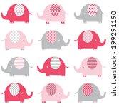 baby pink elephant pattern | Shutterstock .eps vector #199291190