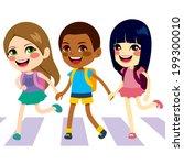 three cute little children... | Shutterstock .eps vector #199300010