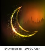 Golden crescent moon on mosque silhouetted shiny abstract background for holy month of Ramadan Kareem.