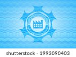 factory icon inside water wave...   Shutterstock .eps vector #1993090403