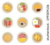 breakfast set  icons for food ... | Shutterstock .eps vector #199309136