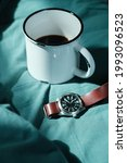 morning coffee cup with watch...   Shutterstock . vector #1993096523