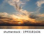 Sunset Sky On The Coast. Golden ...