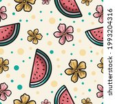 watermelon slices tropical... | Shutterstock .eps vector #1993204316