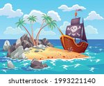 Pirate Ocean Island In Cartoon...