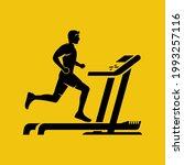 Silhouette Man On A Treadmill....