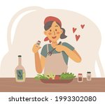cooking salad at home concept... | Shutterstock .eps vector #1993302080