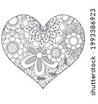 heart with floral pattern.... | Shutterstock .eps vector #1993386923