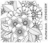 mehndi flower for henna  mehndi ... | Shutterstock .eps vector #1993403309