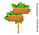 wooden sign with green bamboo...