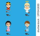 vector set of cartoon kids with ... | Shutterstock .eps vector #199341830