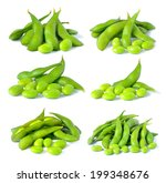 set of green soybeans on white... | Shutterstock . vector #199348676