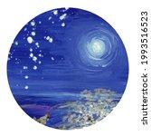 Night Sky Sakura. Watercolor...